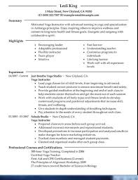 Examples Of Yoga Resume
