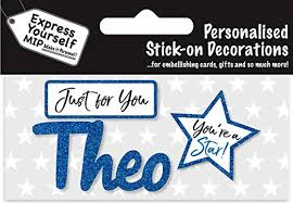 Theo Blue Name Sticker DIY Greeting Card Toppers ... - Amazon.com