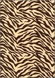 zebra brown rug animal print non slip washable 8x10