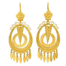 antique yellow gold chandelier earrings for