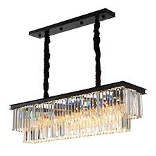 yue jia luxury contemporary rectangular island crystal chandelier lighting fixture for dining room l39 x w10 x h10