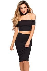 "Ivy"" Black Crop Top & Skirt 2 Piece Choker Dress - Babe Society"