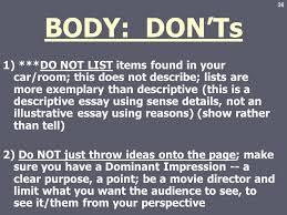 descriptive essay ppt video online 36 body