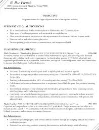 Math Teacher Sample Resume Choppix