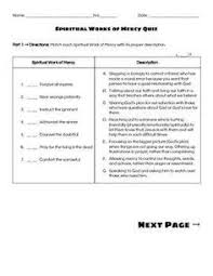 works of mercy worksheet worksheet for spiritual and corporal works of mercy 6th grade