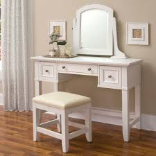 rectangle white wooden makeup vanity table with mirror and drawer