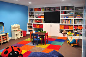 A kids basement playroom is safe and a great place to contain the clutter.