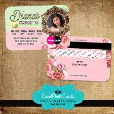 Quincenera Invitations Floral Roses Quinceanera Invitations Credit Card
