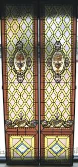 leaded glass windows for exceptional pair of century french stained leaded glass windows