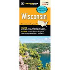 Interstate Mileage Chart Wisconsin State Waterproof Map Kappa Map Group