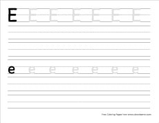 Lower Case Letter Practice Sheet Letter E Writing And Coloring Sheet