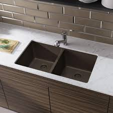Rene Undermount Composite Granite 32 12 In Double Bowl Kitchen Sink In Umber
