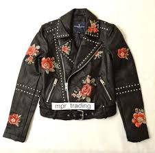 details about nwt american eagle women s embroidered studded faux leather moto jacket s l new
