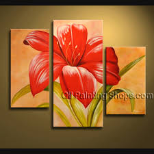 stunning contemporary wall art oil painting on canvas panels gallery stretched flower this 3 panels