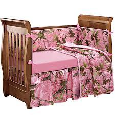 Pink Oak Camo Baby Crib Bedding Set