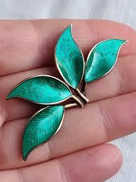 David Andersen Garden Design Vintage Sterling Silver Green Enamel Leaf Brooch David