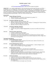 Objective For A Teaching Resume Pattern Of Job Education Writing