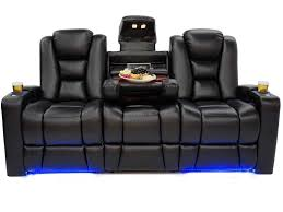 mega hr black leather couch
