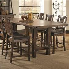 coaster padima rustic rough sawn counter height table with extension leaf and dark metal bracket