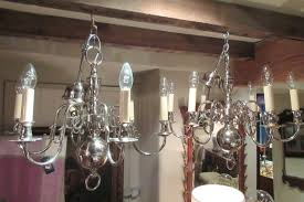 small pair of edwardian period nickel plated chandeliers