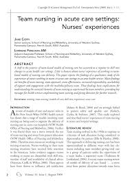 team nursing in acute care settings nurses experiences pdf team nursing in acute care settings nurses experiences pdf available