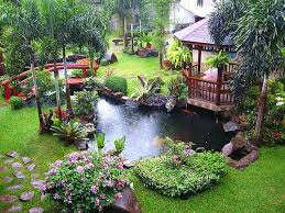 Lawn & Garden:Brilliant Small Corner Landscaping Small Pounds With Stone  Structure And Small Waterfal