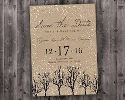 Winter Wedding Save The Date Winter Wedding Save The Date Printed Snow Woodsy Rustic Etsy