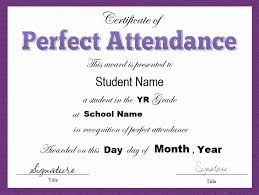Printable Perfect Attendance Certificate Template For 8 Free