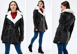 womens faux fur lined pu trench coat