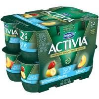 dannon activia probiotic yogurt light strawbery banana peach 12 pk