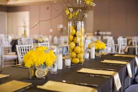... Stunning Wedding Table Decoration With Yellow Centerpiece Decor :  Captivating Yellow And Black Wedding Table Decoration ...