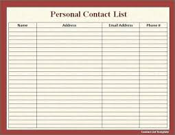 Contact List Spreadsheet Template Free Contact List Template Agarvain Org