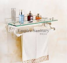 new wall mounted bathroom glass washing shower shelf bathroom accessories shampoo holder with towel bar 3314