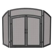 iron fireplace screens. UniFlame Arch Top Black Wrought Iron 3-Panel Fireplace Screen With Doors Screens