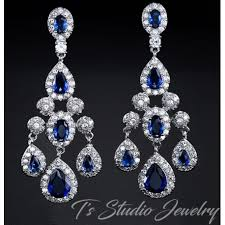 sapphire blue cz bridal chandelier bridal earrings