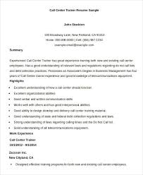 call-center-trainer-resume-sample