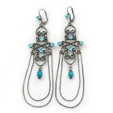 long vintage inspired light blue diamante chandelier earrings with leverback closure in burn silver tone
