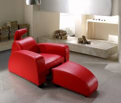 Modern Red Leather Lounge Chair And OttomanContemporary Red Chair