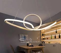 white bending design led hanging lamp light fixture chandelier