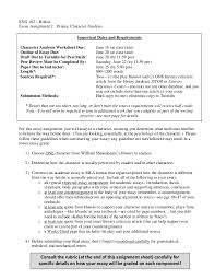 essay character analysis drama summer  eng 102 boltonessay assignment 2 drama character analysisfor this essay assignment