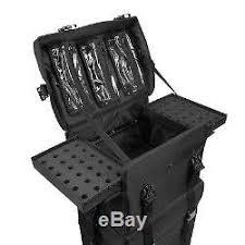 professional rolling makeup train case soft sided nylon black organizer trolley