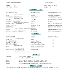 Musical Theatre Resume Resume Template Bunch Ideas Ofsical Theatre Resumes Cosy Audition 97