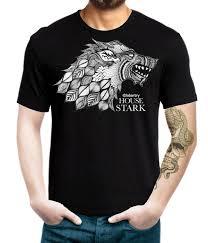 House Stark T Shirt Design Game Of Thrones T Shirt House Stark Logo In Ethnic Designs Black