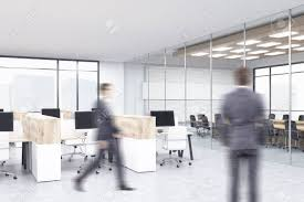 office with cubicles. Two Businessmen In Office With Cubicles And Conference Room Background. Concept Of Corporate Work R