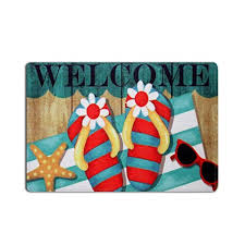kitchen table linens 18x30in sun shine fantastic colorful flip flops starfish beach theme welcome entrance rug