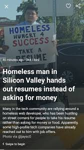 Homeless Man Hands Out Resumes (This Counts Right ...