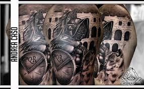 Gladiatore In Bianco E Nero Realistico Andrea Caso Tattooing