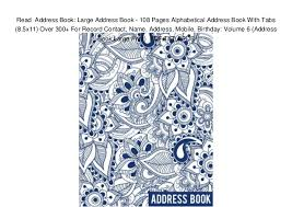 Birthday And Address Book Read Address Book Large Address Book 108 Pages Alphabetical Addre