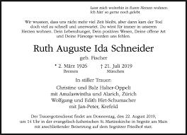 Anzeige von Ruth Auguste Ida Schneider   SZ-Gedenken.de