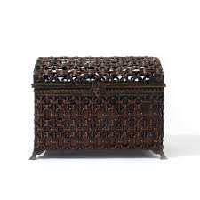 woven metal furniture. Metal Trunk With Faux Bamboo Design - Woven Chest Furniture